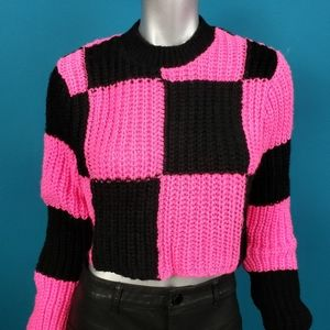 COLLUSION Mod Checkerboard Cropped Sweater /(NWOT)